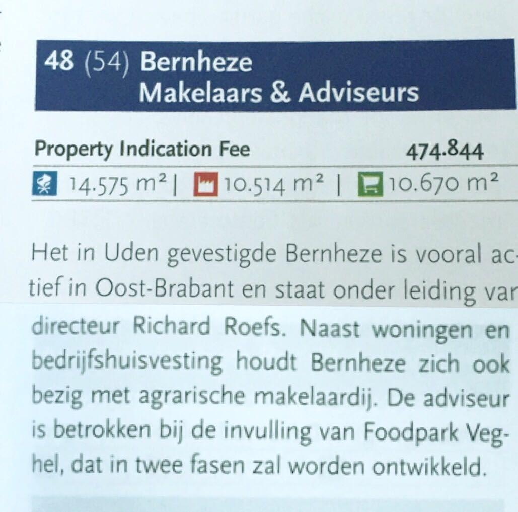 Bernheze makelaars,plaats 48 in de lijst top 101 Bedrijfsmakelaars Property